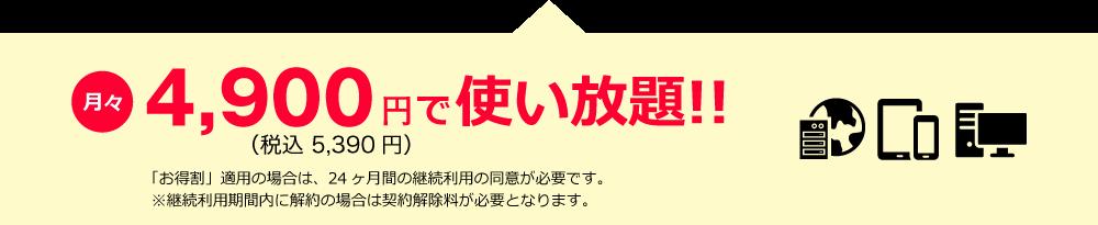 月々4,900円で使い放題!!